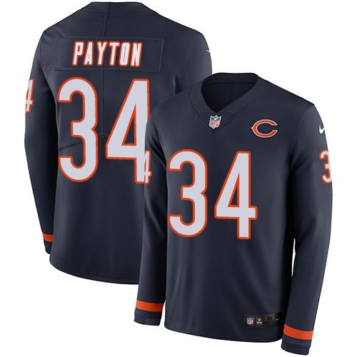 Nike Bears #34 Walter Payton Navy Blue Team Color Men's Stitched NFL Limited Therma Long Sleeve Jersey