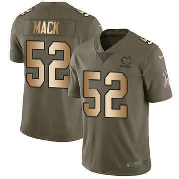 Nike Bears #52 Khalil Mack Olive Gold Men's Stitched NFL Limited 2017 Salute To Service Jersey