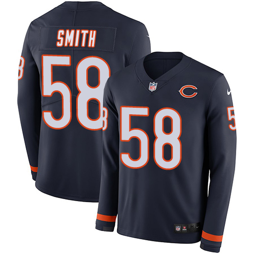 Nike Bears #58 Roquan Smith Navy Blue Team Color Men's Stitched NFL Limited Therma Long Sleeve Jersey