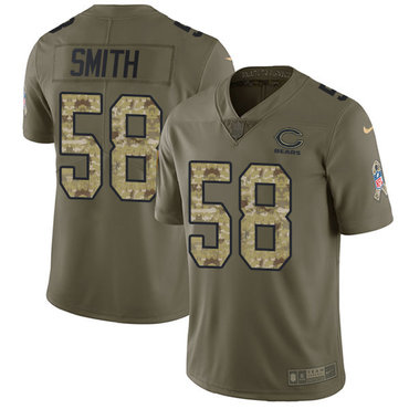 Nike Bears #58 Roquan Smith Olive Camo Youth Stitched NFL Limited 2017 Salute to Service Jersey