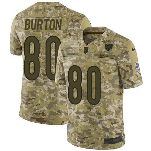 Nike Bears #80 Trey Burton Camo Men's Stitched NFL Limited 2018 Salute To Service Jersey
