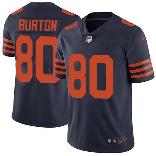 Nike Bears #80 Trey Burton Navy Blue Alternate Men's Stitched NFL Vapor Untouchable Limited Jersey