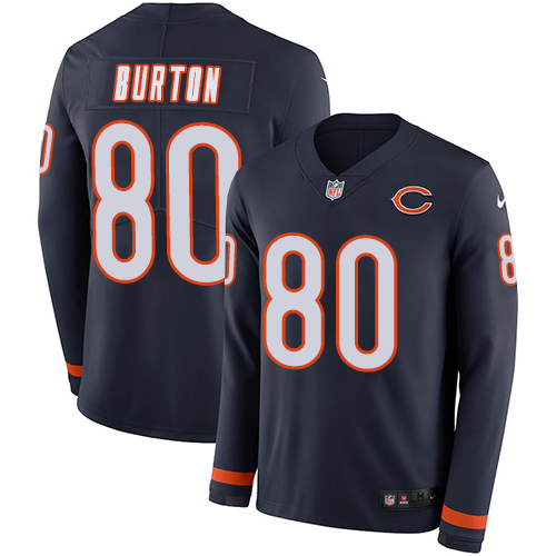 Nike Bears #80 Trey Burton Navy Blue Team Color Men's Stitched NFL Limited Therma Long Sleeve Jersey