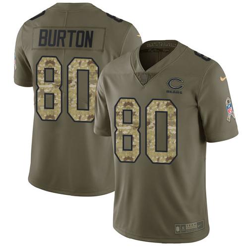 Nike Bears #80 Trey Burton Olive Camo Men's Stitched NFL Limited 2017 Salute To Service Jersey