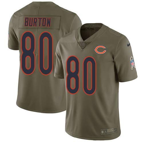 Nike Bears #80 Trey Burton Olive Men's Stitched NFL Limited 2017 Salute To Service Jersey