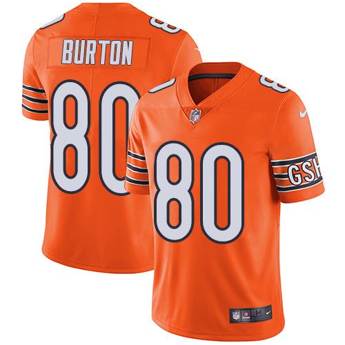 Nike Bears #80 Trey Burton Orange Men's Stitched NFL Limited Rush Jersey