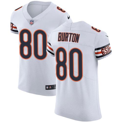 Nike Bears #80 Trey Burton White Men's Stitched NFL Vapor Untouchable Elite Jersey