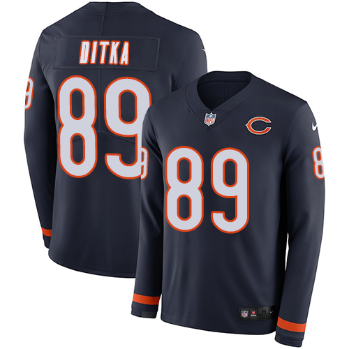 Nike Bears #89 Mike Ditka Navy Blue Team Color Men's Stitched NFL Limited Therma Long Sleeve Jersey