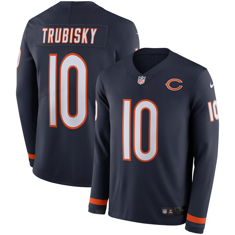 Nike Bears 10 Mitchell Trubisky Navy Therma Long Sleeve Jersey