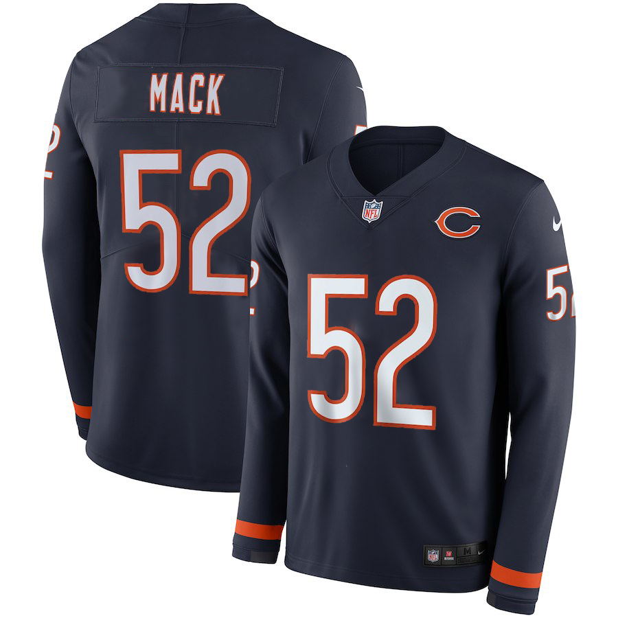 Nike Bears 52 Khalil Mack Navy Therma Long Sleeve Jersey