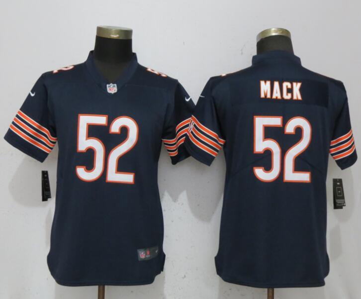 Nike Bears 52 Khalil Mack Navy Women Vapor Untouchable Limited Jersey