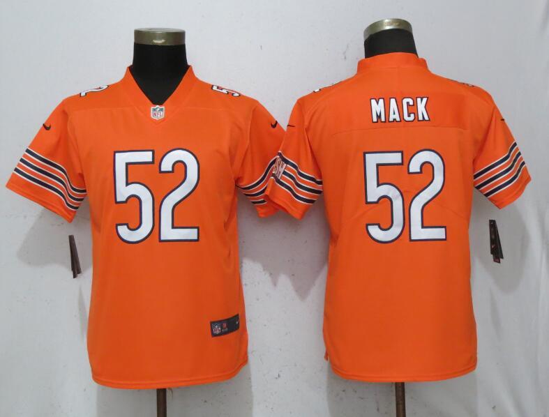 Nike Bears 52 Khalil Mack Orange Women Vapor Untouchable Limited Jersey