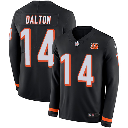 Nike Bengals #14 Andy Dalton Black Team Color Men's Stitched NFL Limited jerseyssite.net Therma Long Sleeve Jersey