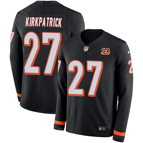 Nike Bengals #27 Dre Kirkpatrick Black Team Color Men's Stitched NFL Limited Therma Long Sleeve Jersey