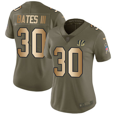 Nike Bengals #30 Jessie Bates III Olive Gold Women's Stitched NFL Limited 2017 Salute to Service Jersey