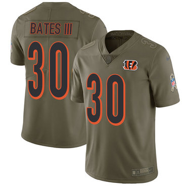 Nike Bengals #30 Jessie Bates III Olive Youth Stitched NFL Limited 2017 Salute to Service Jersey