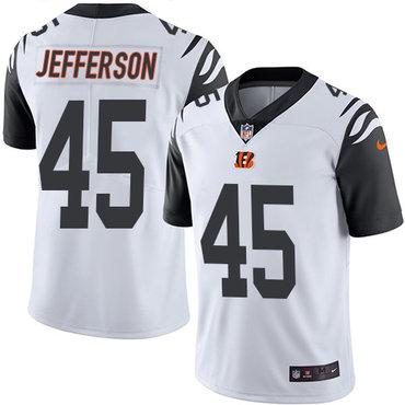 Nike Bengals #45 Malik Jefferson White Men's Stitched NFL Limited Rush Jersey