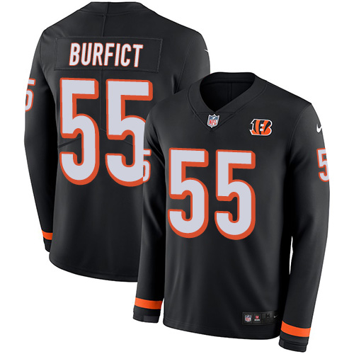 Nike Bengals #55 Vontaze Burfict Black Team Color Men's Stitched NFL Limited Therma Long Sleeve Jersey
