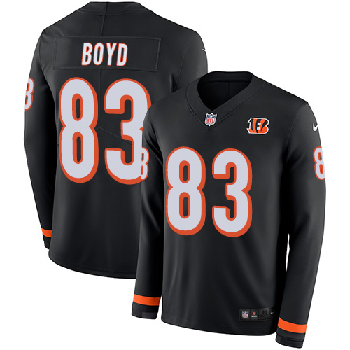 Nike Bengals #83 Tyler Boyd Black Team Color Men's Stitched NFL Limited Therma Long Sleeve Jersey