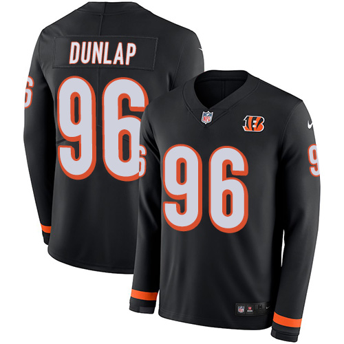 Nike Bengals #96 Carlos Dunlap Black Team Color Men's Stitched jerseysclub.net NFL Limited Therma Long Sleeve Jersey