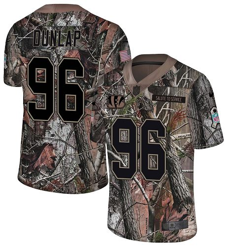 Nike Bengals #96 Carlos Dunlap Camo Men's Stitched NFL Limited Rush Realtree Jersey