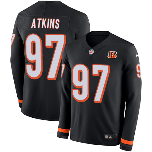 Nike Bengals #97 Geno Atkins Black Team Color Men's Stitched NFL Limited Therma Long Sleeve Jersey