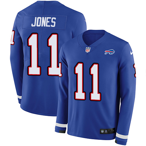 Nike Bills #11 Zay Jones Royal Blue Team Color Men's Stitched NFL Limited Therma Long Sleeve Jersey