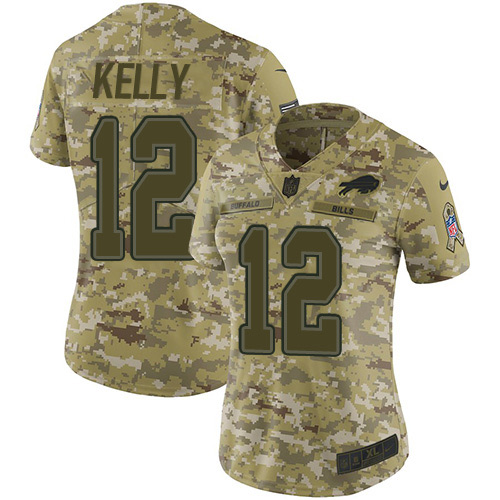 Nike Bills #12 Jim Kelly Camo Women's Stitched NFL Limited 2018 Salute to Service Jersey
