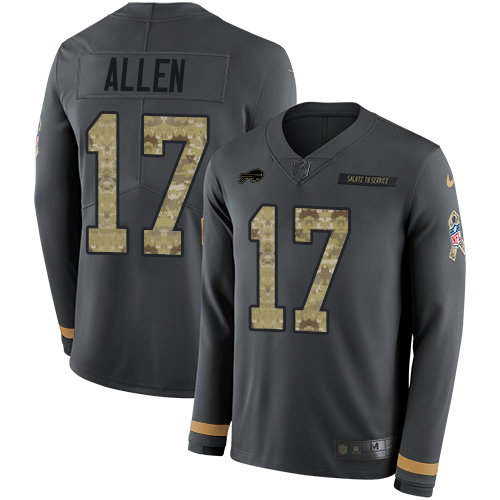 Nike Bills #17 Josh Allen Anthracite Salute to Service Men's Stitched NFL Limited Therma Long Sleeve Jersey
