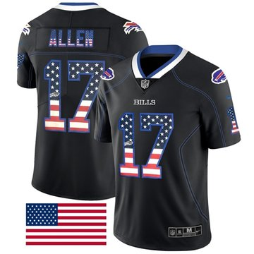 Nike Bills #17 Josh Allen Black Men's Stitched NFL Limited Rush USA Flag Jersey