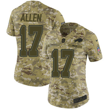 Nike Bills #17 Josh Allen Camo Women's Stitched NFL Limited 2018 Salute to Service Jersey