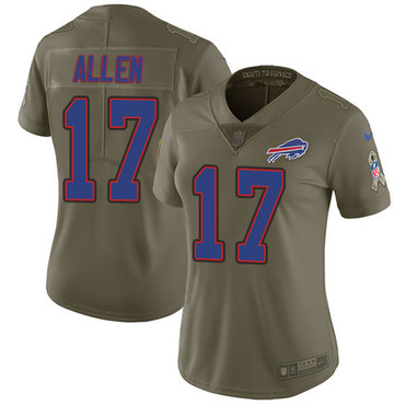 Nike Bills #17 Josh Allen Olive Women's Stitched NFL Limited 2017 Salute to Service Jersey