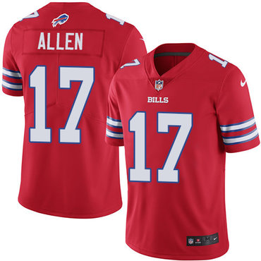 Nike Bills #17 Josh Allen Red Youth Stitched NFL Limited Rush Jersey