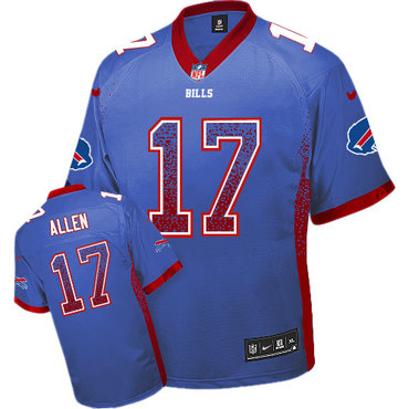 Nike Bills #17 Josh Allen Royal Blue Team Color Men's Stitched NFL Elite Drift Fashion Jersey