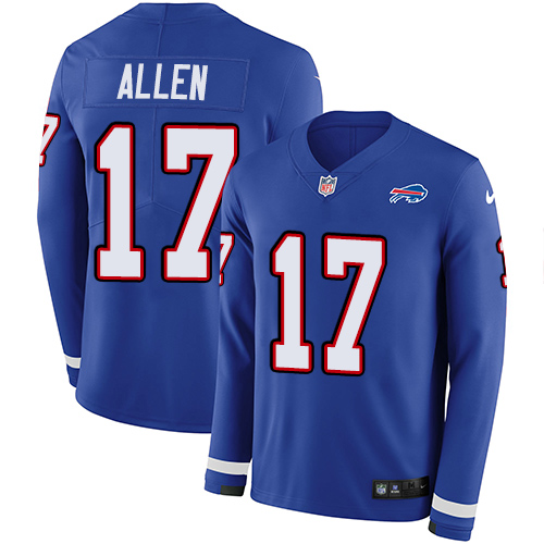 Nike Bills #17 Josh Allen Royal Blue Team Color Men's Stitched NFL Limited Therma Long Sleeve Jersey