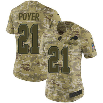 Nike Bills #21 Jordan Poyer Camo Women's Stitched NFL Limited 2018 Salute to Service Jersey