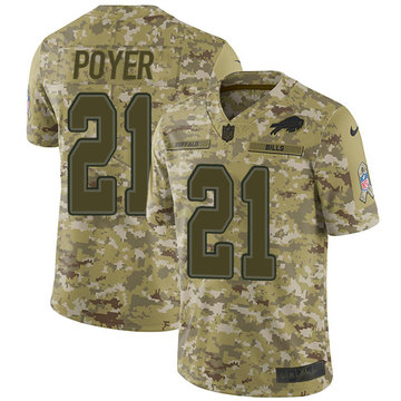 Nike Bills #21 Jordan Poyer Camo Youth Stitched NFL Limited 2018 Salute to Service Jersey