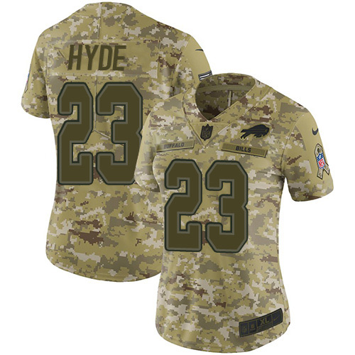 Nike Bills #23 Micah Hyde Camo Women's Stitched NFL Limited 2018 Salute to Service Jersey