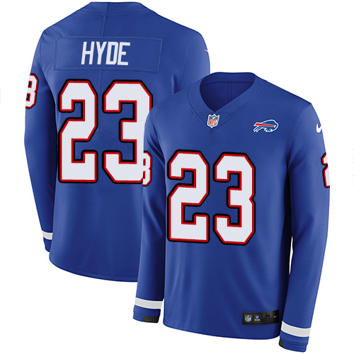 Nike Bills #23 Micah Hyde Royal Blue Team Color Men's Stitched NFL Limited Therma Long Sleeve Jersey