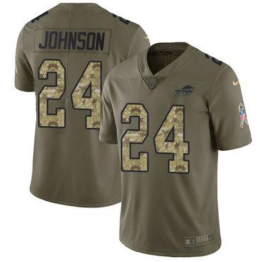 Nike Bills #24 Taron Johnson Olive Camo Men's Stitched NFL Limited 2017 Salute To Service Jersey