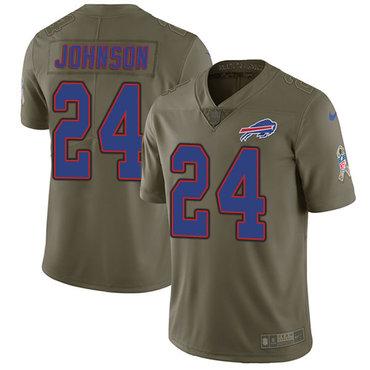 Nike Bills #24 Taron Johnson Olive Men's Stitched NFL Limited 2017 Salute To Service Jersey