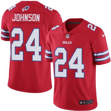 Nike Bills #24 Taron Johnson Red Men's Stitched NFL Limited Rush Jersey