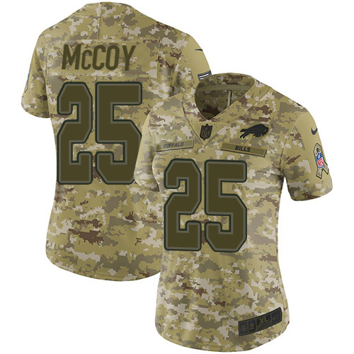 Nike Bills #25 LeSean McCoy Camo Women's Stitched NFL Limited 2018 Salute to Service Jersey