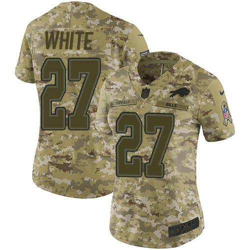 Nike Bills #27 Tre'Davious White Camo Women's Stitched NFL Limited 2018 Salute to Service Jersey
