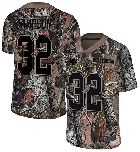 Nike Bills #32 O. J. Simpson Camo Men's Stitched NFL Limited Rush Realtree Jersey