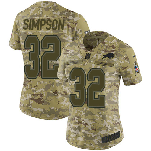 Nike Bills #32 O. J. Simpson Camo Women's Stitched NFL Limited 2018 Salute to Service Jersey
