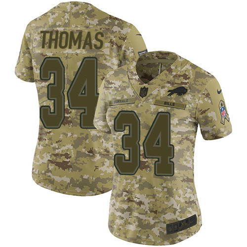 Nike Bills #34 Thurman Thomas Camo Women's Stitched NFL Limited 2018 Salute to Service Jersey