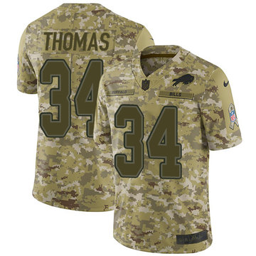 Nike Bills #34 Thurman Thomas Camo Youth Stitched NFL Limited 2018 Salute to Service Jersey