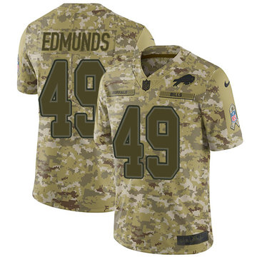 Nike Bills #49 Tremaine Edmunds Camo Youth Stitched NFL Limited 2018 Salute to Service Jersey
