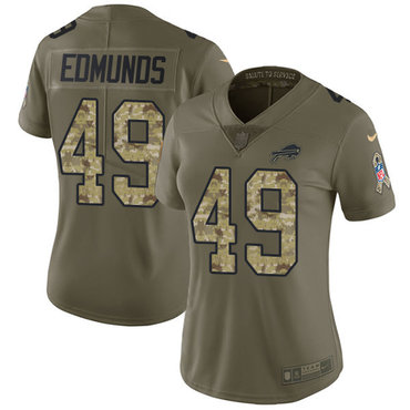 Nike Bills #49 Tremaine Edmunds Olive Camo Women's Stitched NFL Limited 2017 Salute to Service Jersey